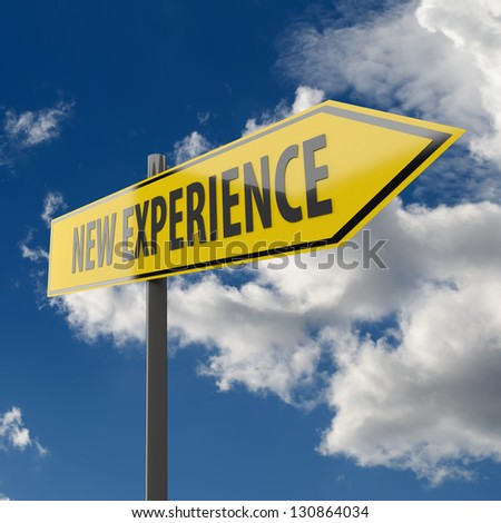 Road Sign with words New Experience on Blue Sky Background - stock photo
