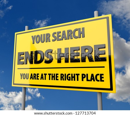 Road Sign with Words Search Ends Here with Blue Sky Background - stock photo