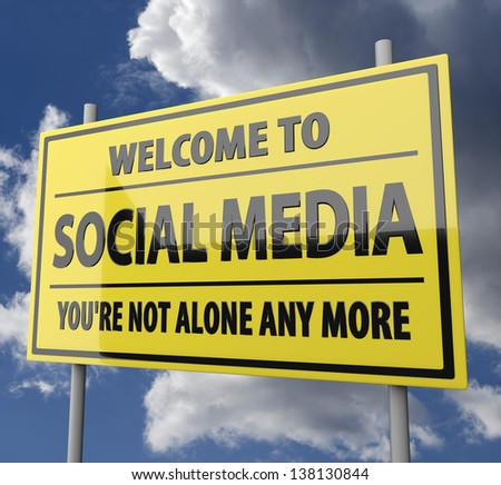 Road sign with words Welcome to social media on blue sky background - stock photo