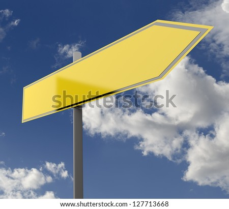 Road Sign Yellow Blank Single with Blue Sky Background - stock photo