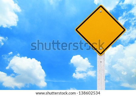 Road signs,  Blank yellow warning with sky background  (Clipping Path) - stock photo