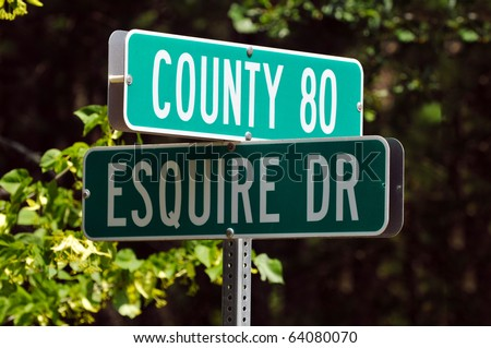 Road Signs Corner of Esquire Drive & County Rd 80 - stock photo
