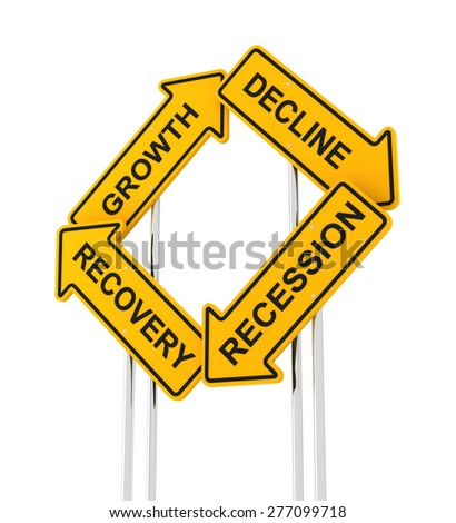 Road signs forming economic cycle, 3d render - stock photo