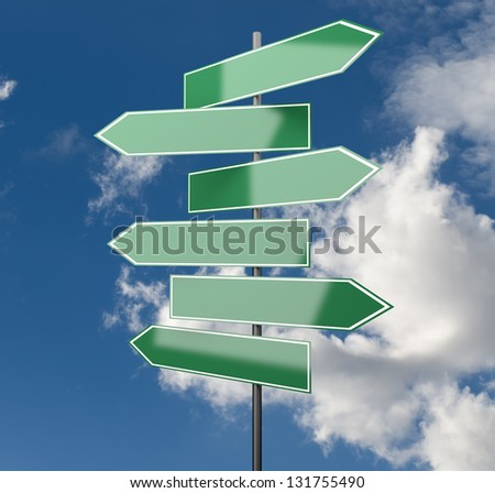 Road Signs green on Sky Background with copy space - stock photo