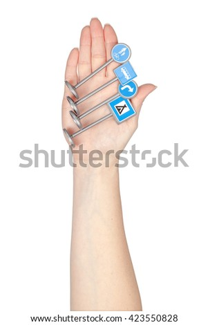 road signs in a hand isolated on white background. driving school concept - stock photo