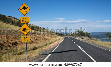 road signs on an Australian highway
