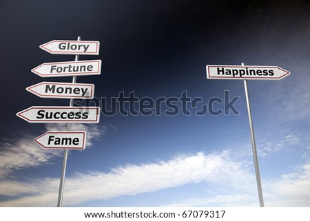 Road signs on blue sky to symbolize choices in lifestyle - stock photo
