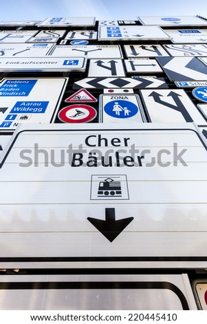 Road signs wall - stock photo