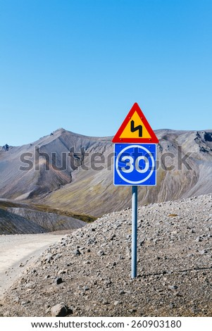 Road sing, Iceland - stock photo
