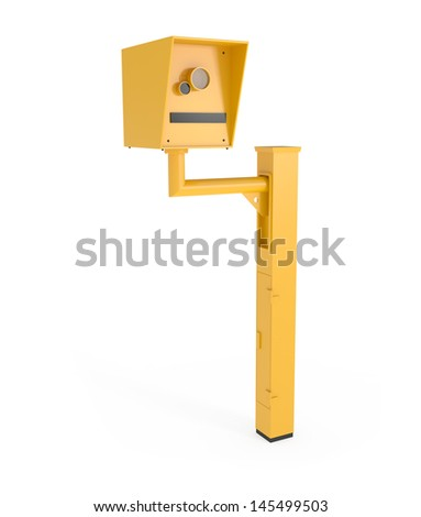 Road Speed Camera isolated on white - 3d illustration