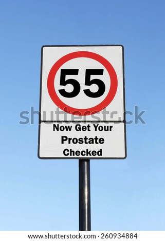 Road Speed Sign, indicating that at the age of 55 you need to get your prostate checked. - stock photo