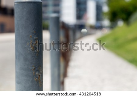 road steel barriers on side a street