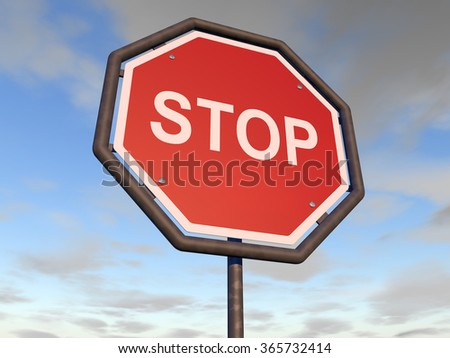 Road stop sign with a blue slightly cloudy sky in background - stock photo