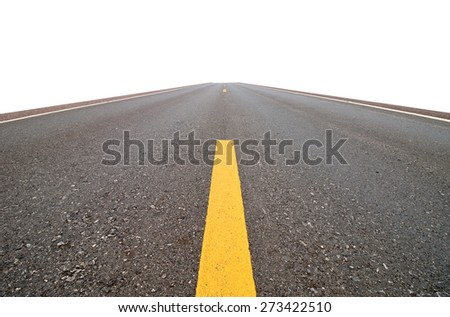 road straight , isolated  on white background