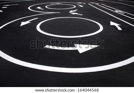 Road surface marking / photography of road markings and traffic symbol on surface road  - stock photo
