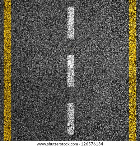 Road texture with two yellow and dashed white stripe - stock photo