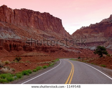 Road through Capitol Reef Canyon.