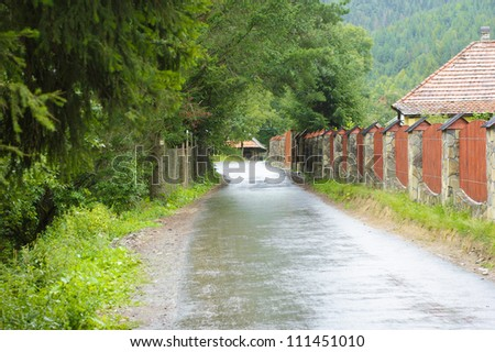 Road through forest and village in Carpathians - stock photo