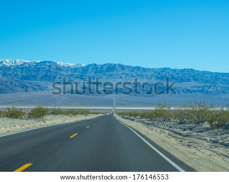 Road through northern end of Panamint Valley in Death Valley National Park