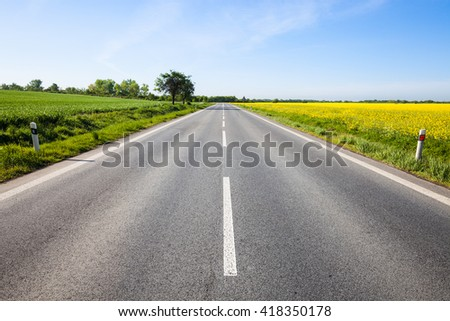 Road through the beautiful yellow field countryside landscape - stock photo