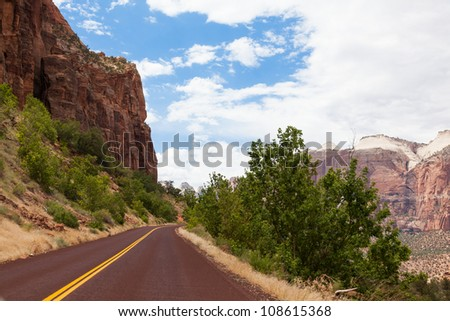 Road through Zion Park in Utah, USA