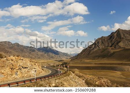Road to Altai Mountains, Siberia, Russia - stock photo