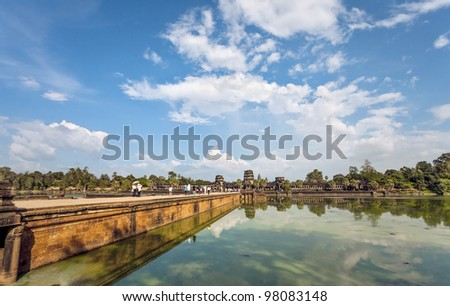 Road to Angkor Wat Temple, Siem reap, Cambodia. - stock photo