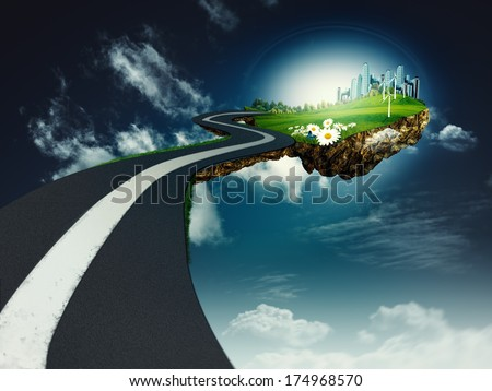 Road to another world, abstract environmental backgrounds - stock photo