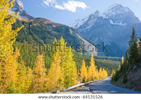 Road to Banff, Alberta, Canadian Rockies - stock photo