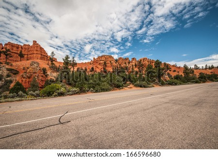 Road to Bryce Canyon amphitheater west USA utah 2013 - stock photo