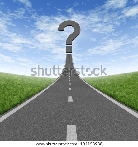 Road to change and business career path as a rising highway with a question mark on a blue summer sky and grass representing financial direction guidance and looking for answers. - stock photo