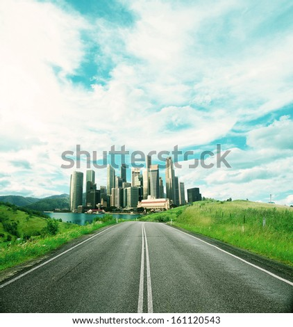 road to city and beautiful nature