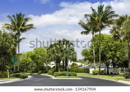 Road to community buildings in Naples, Florida