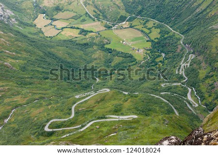 Road to Dalsnibaa - one of the moust beautiful mountain rouds in  Norway, Scandinavia, Europe - stock photo