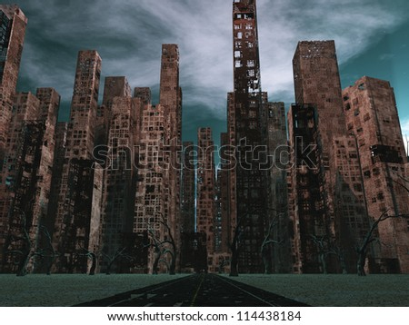 Road to dead city - stock photo