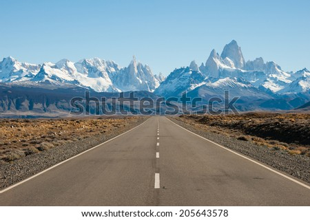 Road to El Chalten, with Fitz Roy Mountain in background, Argentina - stock photo