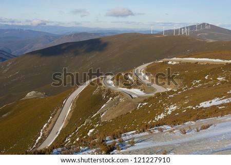 """road to """"el morredero"""" ski station in Leon, Spain - stock photo"""