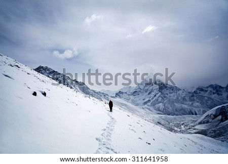 Road to Everest Base Camp - mountain landscape in Sagarmatha National Park in the Nepal Himalaya - stock photo