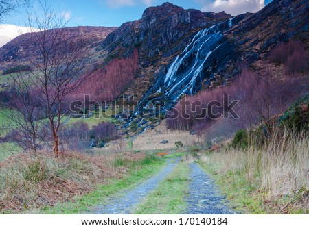 Road To Exquisite Waterfall - stock photo