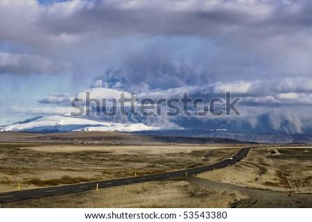 road to eyjafjallajokull glacier and volcano in iceland - stock photo