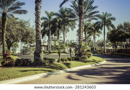 Road to gated community in South Florida