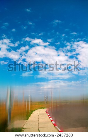 Road to highway (Motion blur) - stock photo