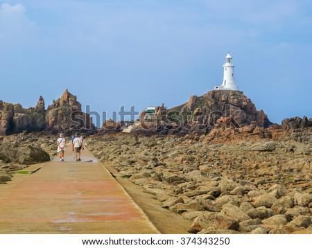 Road to La Corbiere Lighthouse, Jersey Island, Channel Islands - stock photo