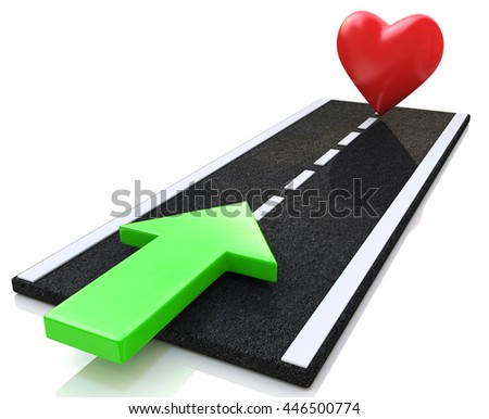road to love in the design of information related to real love. 3d illustration - stock photo