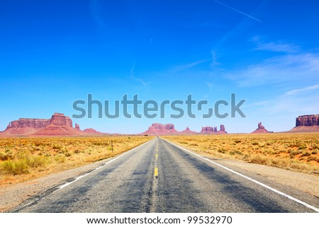 Road to Monument Valley, Arizona-Utah, USA - stock photo