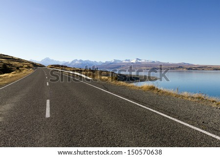 Road to mount Cook. New Zealand