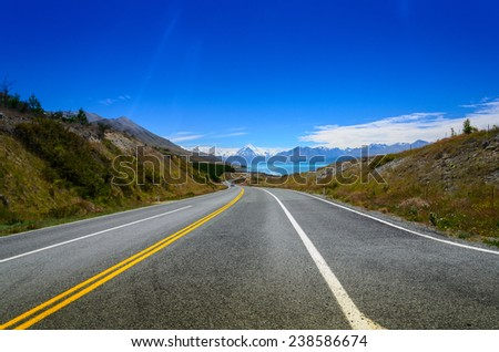 Road to Mount Cook, South Island - New Zealand highest mountain - stock photo