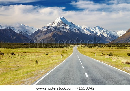 Road to mount Cook, Southern Alps, New Zealand - stock photo