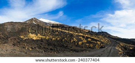 Road to mount Etna from Sapienza refuge, Sicily, Italy - stock photo