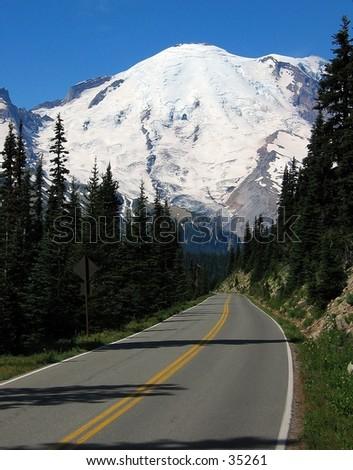 Road to Mount Ranier - stock photo